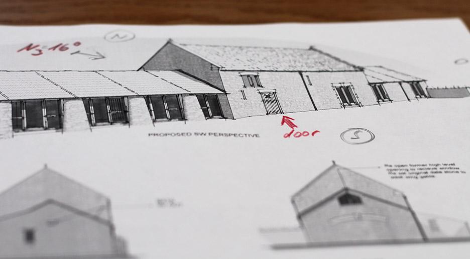 Skizze von einem Landhaus nach Feng Shui umgebaut durch Anke Friedrich mithilfe von Geomantie