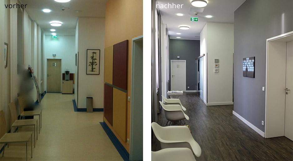 Vorher/nachher Vergleich von Arztpraxis nach Feng Shui Beratung durch Anke Friedrich und Geomantie